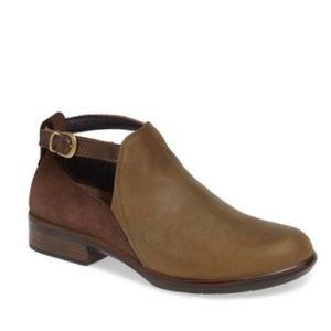 NAOT Kasmin Comfort Strap Green Brown bootie